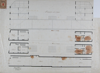 RT-III-240 Ontwerp van een school met onderwijzerswoning tussen de Lange Torenstraat en de Oppert (lengtedoorsnede, ...