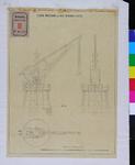 RT-III-258-1 Ontwerptekening van een weegkraan (boven- en 2 zijaanzichten).