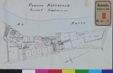 RT-III-276 Kadastrale kaart van Rotterdam, sectie C, met de percelen en straten tussen de Rotte en de Hofdijk, alsmede ...