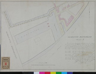 RT-III-278 Kadastrale kaart van de gemeente Rotterdam, sectie A. Met de aangegeven herindeling van percelen voor het ...