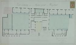RT-IV-29-2 Plattegrond van de 2e verdieping voor een krankzinnigengesticht aan de Hoogstraat (plantekening).