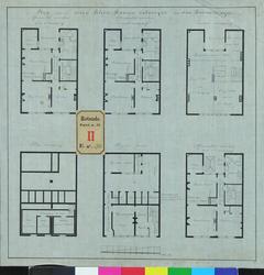 RT-IV-293-2 Plan voor een nieuw politie bureau (plattegrond van de kelder, begane grond, 1ste, 2e, 3e en zolderverdieping).