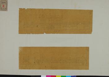 RT-IV-304 Tekeningen van het badhuis aan de Baan.-boven: voorgevel Molenzijde;-onder: zijgevel Baanzijde.