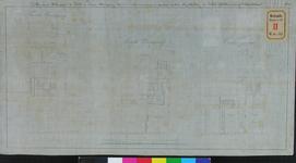 RT-IV-309-1 Plan van de kelder, eerste en tweede verdieping van een mannnenhuis aan de Hoogstraat (plattegrond).