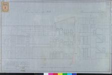 RT-IV-323-3 Plan voor de verbouwing van het krankzinnigengesticht aan de Hoogstraat (langs- en dwarsdoorsnede).