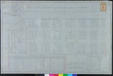 RT-IV-323-5 Plan voor de verbouwing van het krankzinnigengeslicht aan de Hoogstraat (dwarsdoorsneden en aanzicht van de ...