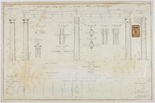 RT-IV-347-1 Detailtekening van de gegoten en geslagen ijzerwerken voor een vaste brug over de Rotte aan het ...