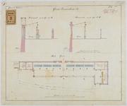 RT-V-424-6 Plantekening en plattegrond voor de restauratie van de Grote Zeevischmarkt bij de Leuvehaven.