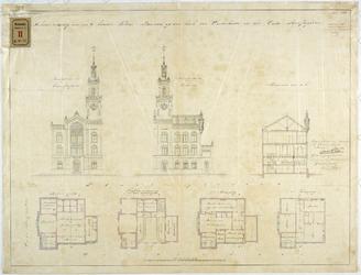RT-V-468-1 Schetsontwerp met plattegrond voor een te bouwen politiebureau op de hoek van de Oosterkade en het Oudehoofdplein.