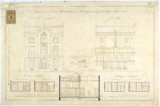 RT-V-471-1 Voor- en achtergevels voor een te bouwen schoolgebouw in de Huge de Grootstraat (ontwerptekening).