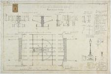 RT-VI-501-1 Detailtekening van ijzeren onderdelen voor de verbouwing van de Levuebrug (ontwerptekening).