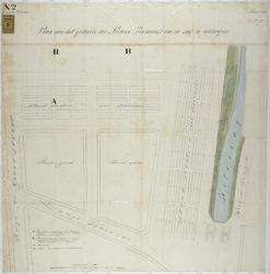 RT-VI-509 Plantekening van het gedeelte nieuwe veemarkt in 1867 te vertooid, bij de Hugo de Grootstraat, Lange Warande ...