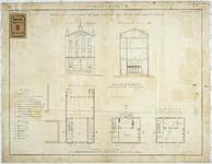 RT-VI-536-1 Plantekening met voorgevel, doorsnede en plattegrond voor een te bouwen openbare school aan de Jonker ...