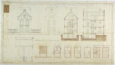 RT-VI-537-3 Ontwerptekening voor een te bouwen schoolwoning in de Jonker Fransstraat.