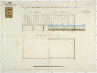 RT-VI-539-3 Plattegrond, aanzicht en doorsnede voor het maken van het zweembad in de Stadsvest (Goudsesingel) bij de ...