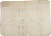J-8 Ontwerptekening van de kapconstructie en ophanging van de drijfassen voor een constructiewinkel in Japan.
