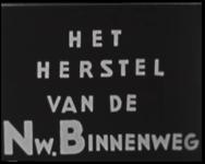 BB-4575 Het herstel van de Nieuwe Binnenweg, asfalteren van de straat. Werk aan de tramrails. Stratenmakers. Hoek van ...