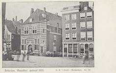 PBK-1027 Botersloot met de Vleeshal op nummer 189 en twee aangrenzende gebouwen op nummer 185 en 183, uit het ...