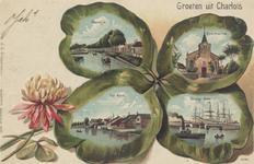 PBK-1107 Prentbriefkaart met vier afbeeldingen van Oud-Charlois.Linksboven: RietdijkLinkonder: Het SpuiRechtsboven: ...