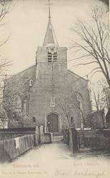 PBK-1114 De toren van de oude kerk, die is blijven staan, met daarachter de nieuwe ' Oude Kerk ' aan de Charloisse ...