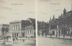 PBK-1161 Twee afbeeldingen van de Coolsingel met de Schouwburg op één prentbriefkaart.