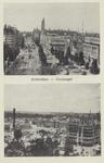 PBK-1203 Prentbriefkaart met 2 afbeeldingen van voor en na het bombardement van 14 mei 1940.Boven: Coolsingel met ...