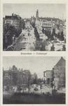 PBK-1204 Prentbriefkaart met 2 afbeeldingen van de Coolsingel voor en na het bombardement van 14 mei 1940. Boven en ...