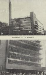 PBK-1273 Twee afbeeldingen van het warenhuis De Bijenkorf aan de Schiedamsesingel op één prentbriefkaart. Voor en na ...