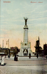 PBK-1333 Monument Caland aan de Coolsingel. Op de achtergrond rechts molen de Hoop. Uit het zuiden gezien.