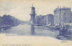 PBK-1378 Gezicht op de Coolsingel met rechts het Erasmiaans Gymnasium en molen De Hoop, uit het zuiden.
