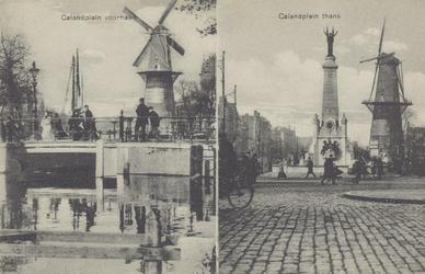 PBK-1380 Twee afbeeldingen op één prentbriefkaart.Links: De Coolsingel met de Binnenwegsebrug en op de achtergrond ...