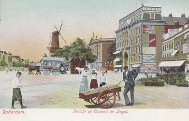 PBK-1468 De Coolsingel met op de achtergrond molen De Hoop, tot het jaar 1911 was de naam De Roomolen en in 1920 werd ...