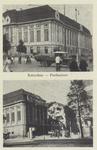 PBK-1525 Twee afbeeldingen van voor en na het bombardement van 14 mei 1940 op 1 prentbriefkaart. Het postkantoor aan de ...