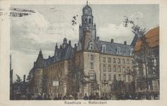 PBK-1558 Coolsingel met het stadhuis uit het zuidwesten Rechts de Raadhuisstraat (Stadhuisstraat) en een gedeelte van ...