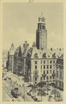 PBK-1580 Coolsingel met het stadhuis uit het zuidwesten Rechts de Raadhuisstraat (Stadhuisstraat) en een gedeelte van ...