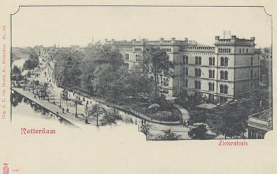 PBK-1633 Overzicht van Coolsingel met het ziekenhuis vanaf molen de Hoop, uit het noordoosten, rechts de Van ...