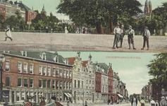 PBK-1684 Prentbriefkaart met 2 afbeeldingen. Boven de Boezemsingel uit het westen gezien. Onder de Crooswijkseweg uit ...
