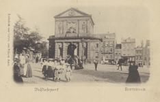 PBK-1734 Delftse Poort vanaf de Schiekade vanuit het noordwesten. Op de achtergrond enkele huizen aan het Delftsepoortplein.