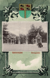 PBK-1873 De toegang ( hoofdingang ) van de Rotterdamsche Diergaarde aan de Kruisstraat, met het wapen van Rotterdam.