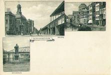 PBK-1983-1145 Prentbriefkaart met 3 afbeeldingen.Linksboven de Beurs en Station Beurs aan het Beursplein, linksonder ...