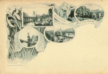 PBK-1983-1146 Prentbriefkaart met vier verschillende afbeeldingen. Van boven naar beneden:-1 Schepen in de Kolk met ...