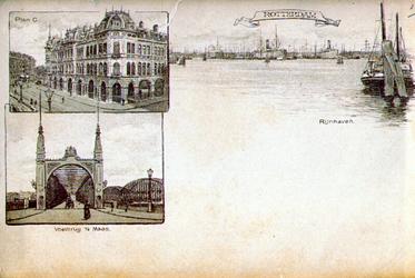 PBK-1983-1147 Drie impressies op één kaart: Plan C, Willemsbrug en Rijnhaven.