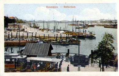 PBK-1983-1265 Gezicht op de Leuvehaven met op de achtergrond de Boompjes. Op de voorgrond en tram en een urinoir op het ...