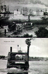 PBK-1983-1283 De veer van Katendrecht naar de Veerhaven.Boven: Platluis circa 1860Onder: Wagenveer circa 1911.