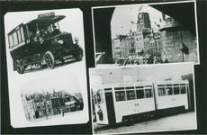 PBK-1983-180 Fotokaart met 4 afbeeldngen betreffende openbaar vervoer. Van links naar rechts:-1 Autobussen van de ...