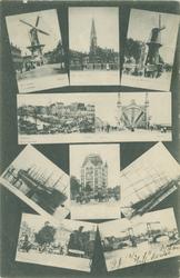 PBK-1983-295 Collage van 10 prentbriefkaarten met verschillende afbeeldingen van Rotterdam.
