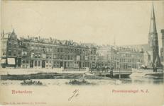 PBK-1983-397 Provenierssingel, gezien uit het westen, vanaf het Proveniersplein. Rechts de Rozenkranskerk.