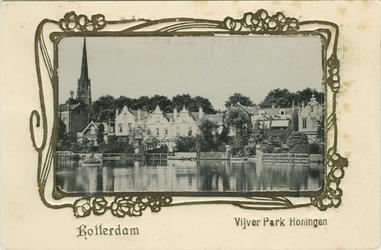PBK-1983-402 De achterkant van panden en de toren van de rooms-katholieke Sint-Lambertuskerk aan de Hoflaan gezien ...