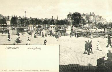PBK-1983-426 Gezicht op de Koningsbrug over de Oudehaven, geheel links de Spanjaardsbrug over het Haringvliet. Rechts ...