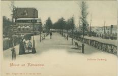 PBK-1983-542 De wandelpromenade in het westelijk deel van het Park. Links restaurant Bellevue, rechts de Parkkade.